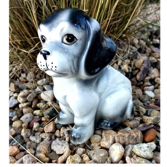 Vintage Other - Vtg Ceramic Puppy Dog Flower Pot Planter